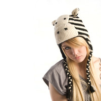 Delux Zebra Black Winter White Knitwits Striped Animal Knit Pilot Youth Adult Knitted Hat Warm Wool Cute Fun