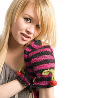 Delux Cherries Striped Mitts Black Fushia Pink Winter Warm Knitted Adult Youth Wool Cherry Gloves Knit String Mittens