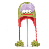 Delux Al Alien Lime Green Purple Red Winter Knitwits 3 Eyed Eyes Knit Pilot Youth Adult Knitted Hat Warm Wool Cute Fun