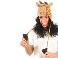 Delux Giraffe Light Brown Winter Knitwits Horned Animal Print Knit Pilot Youth Adult Knitted Hat Warm Wool Cute Fun