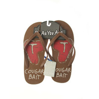 Be As You Are Cougar Bait Brown Men's Flip Flops Mens T-Bone Steak Fresh Meat Thong Sandals Shoes