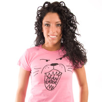 Be As You Are Maneater Man Eater Hot Bright Pink Lion Roar Animal Face Tee Women's Short Sleeve T-Shirt Shirt Ladies Top Zoom