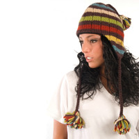 Delux Pom Pom Chocolate Brown Ivory Rust Lime Blue Yellow Cable Knit Striped Pilot Youth Adult Knitted Hat Warm Wool Winter Cute Braids Ear Flaps Side View