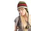 Delux Chocolate Brown Ivory Rust Red Lime Green Cable Knit Striped Pilot Youth Adult Knitted Hat Warm Wool Winter Cute Pom Poms Braids Ear Flaps