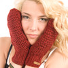 Delux Burgundy Maroon Cable Knit Gloves Mittens Youth Adult Knitted Warm Lined Wool Winter Cute Mitts Knitwear