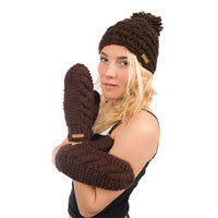 Delux Chocolate Brown Cable Knit Gloves Mittens Youth Adult Knitted Warm Lined Wool Winter Cute Mitts Knitwear