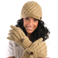 Delux Tan Brown Diagonal Cable Knit Gloves Mittens Youth Adult Knitted Warm Lined Wool Winter Cute Mitts Knitwear