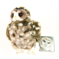 "Stuffed Animal House 9"" Standing B.C. Northern Spotted Owl Perched Plush Toy Wild Wildlife Bird Audubon Soft Furry Fuzzy Nature Endangered Birds"