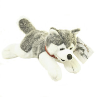 "Stuffed Animal House 9"" Siberian Husky Grey White Northern Wildlife Gray Dog Plush Toy Canada Collar Ribbon Maple Leaf Lying down Fuzzy Furry Canadian Doggie"