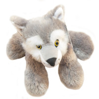 "Stuffed Animal House 7"" Wolf Gray White Grey Northern Wildlife Plush Toy Fuzzy Furry Floppy Canada Maplefoot Embroidered Maple Leaf Canadian Critter Front"