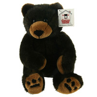 "Stuffed Animal House 12"" Black Beige Bear Shatzi Wildlife Cuddle Bear Wild Plush Toy"