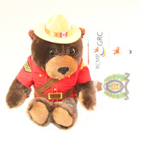 "Stuffed Animal House 8"" Sergeant Brown Beaver Canada Wildlife Wild Plush Official Embroidered RCMP Royal Canadian Mounted Police Officer Stetson Flat-Brimmed Felt Hat  Red Jacket Buck Teeth Canadian Flag Front"
