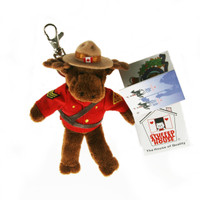 "Stuffed Animal House 5"" Standing RCMP Brown Moose Keychain Wild Zipper Pull Mini Police Uniform Royal Canadian Mounted Police Stetson Hat Maple Leaf Key Chain Tiny Soft Furry Fuzzy Clip Backpack Critter Canadian Wildlife Canada"