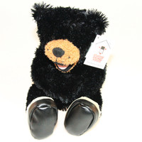 "Stuffed Animal House 10"" Black Bear Realistic Hiking Boots Smiling Plush Toy Canadian Wildlife Rare"