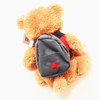 """Stuffed Animal House 15"""" Beige Brown Bear Realistic Hiking Boots Functional Removable Backpack Red Canada Vest Embroidered Canadian Maple Leaf Smiling Plush Toy Wildlife Back"""