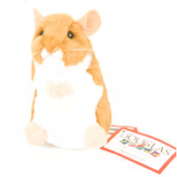 "Douglas Cuddle Toy 5"" Brushy Pet Hamster Shiny Light Brown White Furry Soft Plush Stuffed Animal Toy 1511"