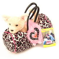 "Douglas Cuddle Toy 7"" Pink Leopard Print Sassy Pet Sak Light Brown Fully Removable Chihuahua  Hot Pink Ribbon Collar Fuzzy Fabric Faux Fur Heart Plush Purse Stuffed Animal 1528"