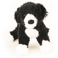 "Douglas Cuddle Toy 8"" Bento Portuguese Water Dog RARE Black White Pet Fuzzy Furry Ultra Soft Plush Stuffed Animal 1792"