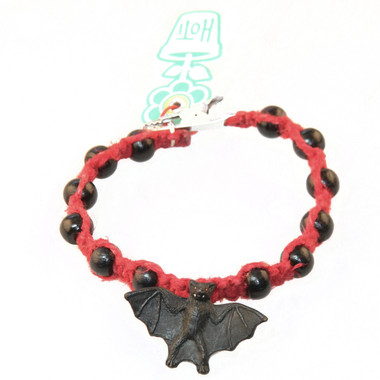 HOTI Hemp Handmade Black Bat Peruvian Ceramic Red Hemp Black Wood Beads Mens Beaded Bracelet Made in Canada 420 Toronto Ontario Canada Hand Crafted Rock Tattoo Rocker Crow Beads Alligator Clip Roach Clip Clip It 420 Clip