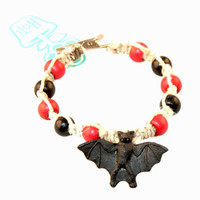HOTI Hemp Handmade Black Bat Peruvian Cermaic Natural Hemp Red Black Wood Beads Mens Bracelet Made in Canada Made in Toronto Made in Ontario 420 Tattoo Rocker Beaded Crow Beads Alligator Clip Roach Clip Clip It Clip Hand Crafted Toronto Ontario Canada