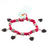 HOTI Hemp Handmade Red Hemp Black Heart Love Rocks Fancy Metal Spike Beads Ladies Womens Charm Bracelet Made in Canada Hand Crafted Made in Toronto Made in Ontario Boho Chic Beaded Pressed Glass Hearts Charms Clasp-It Lobster Clasp Rock Toronto Ontario Canada