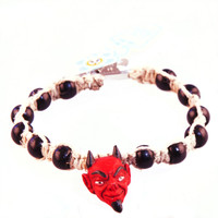 HOTI Hemp Handmade Red Hot Devil Head Peruvian Ceramic Natural Hemp Black Wood Beads Mens Bracelet Hand Crafted Made in Toronto Made in Ontario Made in Canada Tattoo Rocker Beaded Crow Beads Alligator Clip Roach Clip Clip It 420 Clip Toronto Ontario Canada