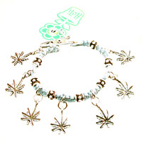 HOTI Hemp Handmade Marijuana Rocks Pale Light Blue Hemp Marijuana Leaf Cannabis Fancy Metal Silver Spike Beads Ladies Womens Mens Unisex Charm Bracelet Made in Canada Hand Crafted Made in Toronto Made in Ontario Boho Chic Beaded Hemp Leaf Mary Jane Charms Roach Clip Alligator Clasp Clip It 420 Clip Toronto Ontario Canada