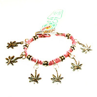 HOTI Hemp Handmade Marijuana Rocks Pink Hemp Marijuana Leaf Cannabis Fancy Metal Silver Spike Beads Ladies Womens Mens Unisex Charm Bracelet Made in Canada Hand Crafted Made in Toronto Made in Ontario Boho Chic Beaded Hemp Leaf Mary Jane Charms Roach Clip Alligator Clasp Clip It 420 Clip Toronto Ontario Canada
