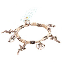 HOTI Hemp Handmade Natural Classic Love Natural Hemp Fancy Metal Beads Ladies Womens Charm Bracelet Hand Crafted Made in Canada Made in Toronto Made in Ontario Boho Chic Beaded Cupid Heart Winged Angel Charms Valentine's Day Clasp-It Lobster Clasp Toronto Ontario Canada