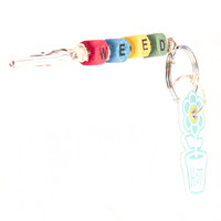HOTI Hemp Handmade Weed Natural Hemp Keychain Key Chain Wood Cube Square Alphabet Beads Multi Colour Red Turquoise Yellow Green Word Up Made in Canada Hand Crafted Made in Toronto Made in Ontario Beaded Roach Clip 420 Clip-It Alligator Clip Canadian Toronto Ontario Canada