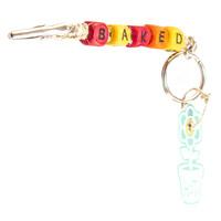 HOTI Hemp Handmade Baked Natural Hemp Keychain Key Chain Wood Cube Square Alphabet Beads Multi Colour Red Yellow Orange Word Up Made in Canada Hand Crafted Made in Toronto Made in Ontario Beaded Roach Clip 420 Clip-It Alligator Clip Canadian Clip Toronto Ontario Canada