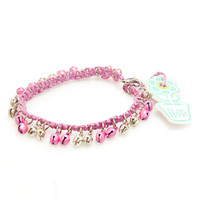 HOTI Hemp Handmade Pink Hemp Anklet Pink Silver Metal Metallic Bells Ring My Bell Belles Ladies Womens Ankle Bracelet Hand Crafted Made in Canada Made in Toronto Made in Ontario Bali Boho Chic Clasp-It Lobster Clasp Removable Toronto Ontario Canada