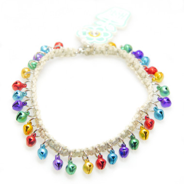 HOTI Hemp Handmade Natural Hemp Anklet Red Purple Yellow Green Turquoise Metal Metallic Bells Ring My Bell Belles Ladies Womens Ankle Bracelet Hand Crafted Made in Canada Made in Toronto Made in Ontario Bali Boho Chic Clasp-It Lobster Clasp Toronto Ontario Canada