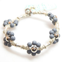 HOTI Hemp Handmade Natural Hemp Maria Signature Flower Power Anklet Gray Grey Silver Metal Beads Tube Dog Bone Beaded Ladies Womens Ankle Bracelet Hand Crafted Made in Canada Made in Toronto Made in Ontario Boho Chic Clasp-It Lobster Clasp Toronto Ontario Canada