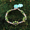 HOTI Hemp Handmade Natural Hemp Maria Signature Flower Power Anklet Green Silver Metal Beads Tube Dog Bone Beaded Flowers Floral Ladies Women's Woman Ankle Bracelet Hand Crafted Made in Canada Made in Toronto Made in Ontario Boho Chic Clasp-It Lobster Clasp Toronto Ontario Canada
