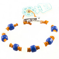 HOTI Hemp Handmade Orange Hemp Hockey Puck Drop Blue White Glass Crow Beads Mens Bracelet Hand Crafted Made in Toronto Made in Ontario Made in Canada Beaded Crow Beads Opaque Glass Beads 420 Alligator Clip Roach Clip Clip It Clip Toronto Ontario Canada Canadian