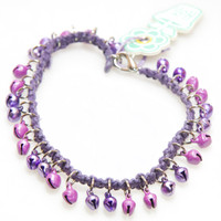 HOTI Hemp Handmade Purple Hemp Anklet Pastel Purple Silver Metal Metallic Bells Ring My Bell Belles Jingle Ladies Womens Ankle Bracelet Hand Crafted Made in Canada Made in Toronto Made in Ontario Bali Boho Chic Clasp-It Lobster Clasp Toronto Ontario Canada Canadian