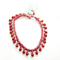 HOTI Hemp Handmade Red Hemp Anklet Pastel Matte Red Metal Metallic Bells Ring My Bell Belles Jingle Ladies Womens Ankle Bracelet Hand Crafted Made in Canada Made in Toronto Made in Ontario Bali Boho Chic Clasp-It Lobster Clasp Toronto Ontario Canada Canadian