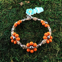 HOTI Hemp Handmade Natural Hemp Maria Signature Flower Power Anklet Orange Silver Metal Beads Tube Dog Bone Beaded Flowers Floral Ladies Women's Woman Ankle Bracelet Hand Crafted Made in Canada Made in Toronto Made in Ontario Boho Chic Clasp-It Lobster Clasp Toronto Ontario Canada Canadian