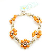 HOTI Hemp Handmade Natural Hemp Maria Signature Flower Power Anklet Orange Silver Metal Beads Tube Dog Bone Beaded Flowers Floral Ladies Womens Ankle Bracelet Hand Crafted Made in Canada Made in Toronto Made in Ontario Boho Chic Clasp-It Lobster Clasp Toronto Ontario Canada Canadian