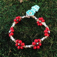 HOTI Hemp Handmade Natural Hemp Maria Signature Flower Power Anklet Red Silver Metal Beads Tube Dog Bone Beaded Flowers Floral Ladies Women's Woman Ankle Bracelet Hand Crafted Made in Canada Made in Toronto Made in Ontario Boho Chic Clasp-It Lobster Clasp Toronto Ontario Canada Canadian