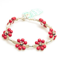 HOTI Hemp Handmade Natural Hemp Maria Signature Flower Power Anklet Red Silver Metal Beads Tube Dog Bone Beaded Flowers Floral Ladies Womens Ankle Bracelet Hand Crafted Made in Canada Made in Toronto Made in Ontario Boho Chic Clasp-It Lobster Clasp Toronto Ontario Canada Canadian