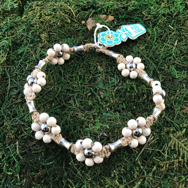 HOTI Hemp Handmade Beige Natural Hemp Maria Signature Flower Power Anklet White Wood Silver Metal Beads Tube Dog Bone Beaded Flowers Floral Ladies Women's Woman Ankle Bracelet Hand Crafted Made in Canada Made in Toronto Made in Ontario Boho Chic Clasp-It Lobster Clasp Toronto Ontario Canada Canadian
