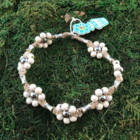 HOTI Hemp Handmade Beige Natural Hemp Maria Signature Flower Power Anklet White Wood Silver Metal Beads Tube Dog Bone Beaded Flowers Floral Ladies Women's Jewellery Woman Girls Ankle Bracelet Hand Crafted Made in Canada Made in Toronto Made in Ontario Boho Chic Clasp-It Lobster Claw Clasp Toronto Ontario Canada Canadian Jewelry