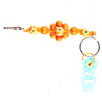 HOTI Hemp Handmade Orange Hemp Flower Power Keychain Floral Beaded Roach Clip Key Chain Wood Round Painted White Green Flowers Beads Signature Made in Canada Hand Crafted Made in Toronto Made in Ontario 420 Marijuana Cannabis Clip-It Mini Metal Alligator Clip Split Ring Canadian Clip Toronto Ontario Canada