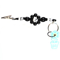 HOTI Hemp Handmade Black Hemp Flower Power White Skull Keychain Floral Beaded Roach Clip Key Chain Round Wood Plastic Beads Signature Flowers Made in Canada Hand Crafted Made in Toronto Made in Ontario 420 Marijuana Cannabis Clip-It Mini Metal Alligator Clip Split Ring Canadian Clip Toronto Ontario Canada