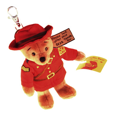 """Stuffed Animal House 4.5"""" Paddington Bear RCMP GRC Royal Canadian Mounted Police Red Jacket Floppy Hat Michael Bond Official Licensed Keychain Zipper Pull Mini Canada Key Chain Tiny Soft Brown Furry Fuzzy Clip Backpack Cute Critter Sitting Standing"""