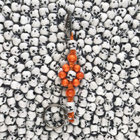 HOTI Hemp Handmade Orange Hemp Flower Power White Black Skull Keychain Floral Beaded Roach Clip Key Chain Round Wood Plastic Beads Skulls Signature Flowers Made in Canada Hand Crafted Made in Toronto Made in Ontario 420 Marijuana Cannabis Clip-It Mini Metal Alligator Clip Split Ring Canadian Clip Toronto Ontario Canada