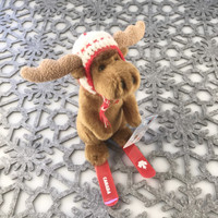 "Stuffed Animal House 6"" Brown Moose Canada Wildlife Wild Skiing Canadian Pilot Knit Hat Red Plastic Skis Embroidered White Printed Maple Leaf Ski Plush Toy Side"