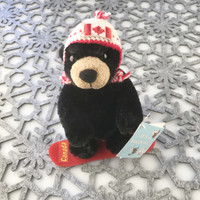 "Stuffed Animal House 6"" Black Bear Canada Wildlife Wild Snowboarding Canadian Pilot Knit Hat Red Plastic Snowboard Embroidered Flag Plush Snow Winter Toy WS-SNOW-01"